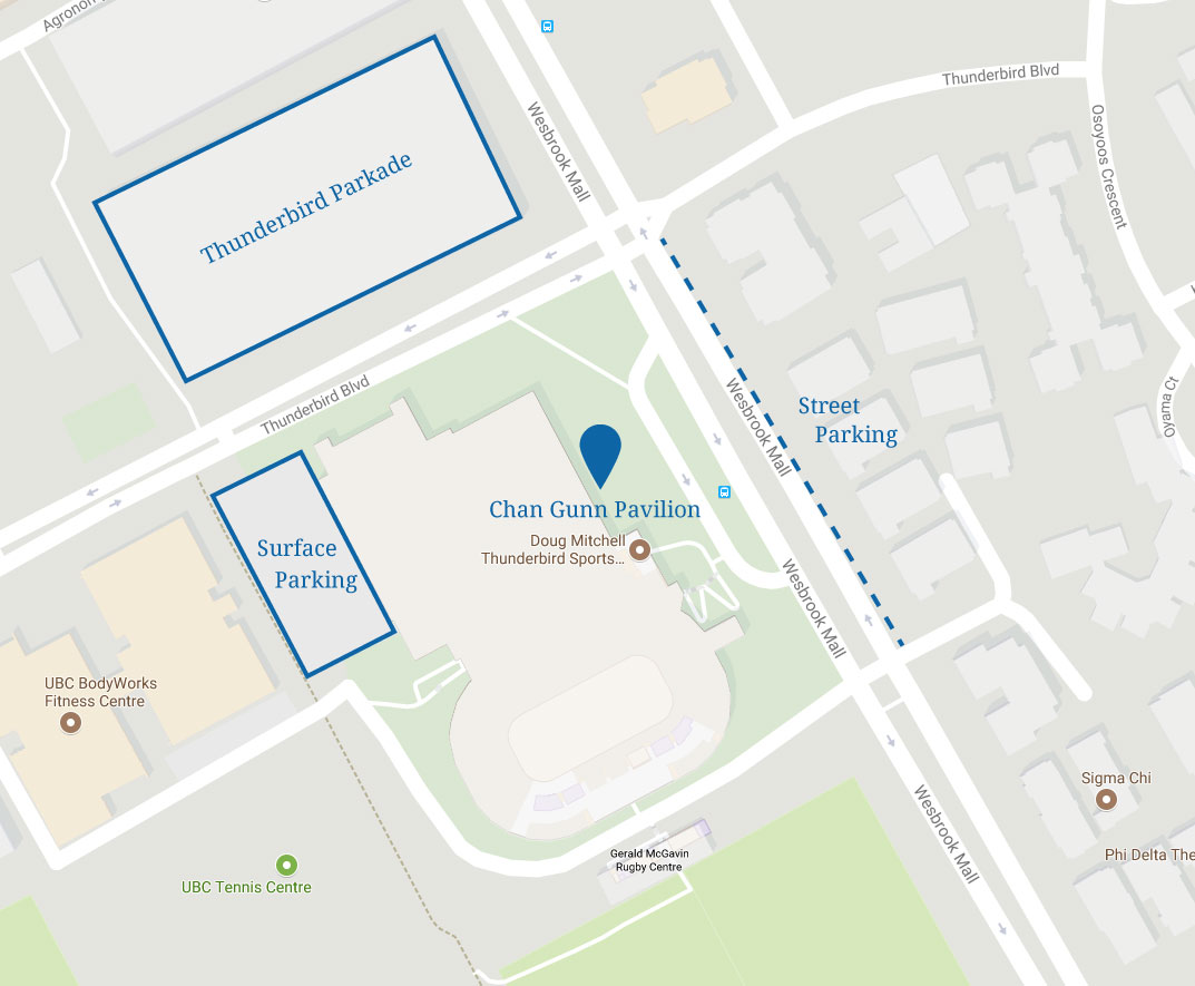 Chan Gunn Pavilion Parking Map